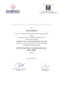 Zertifizierter Ärzte- und Zahnärzteberater (IFU/ISM) 1
